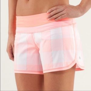 Lululemon Groovy Run Shorts Gros Gingham Pink 10